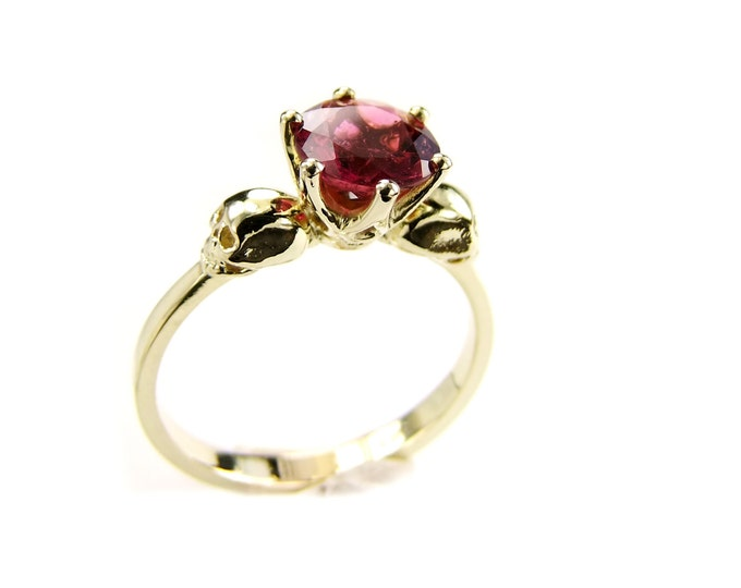 Skull Engagement Ring in 14K Gold with Natural Pink Tourmaline - All Sizes