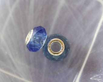 Silver lampwork charm bead blue