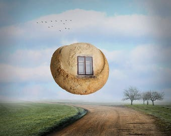 Flying stone, Surreal Photography, Digital Download, Photography Art