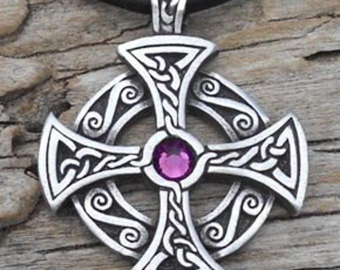 Featured listing image: Pewter SOLAR CROSS Swarovski Crystal Celtic Druid Irish Purple Amethyst FEBRUARY Birthstone Pendant