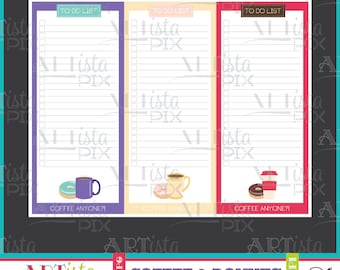 Coffee & Donuts To do list, Note Pad, Memo Pad, Instant Download, Stationery, Digital Download