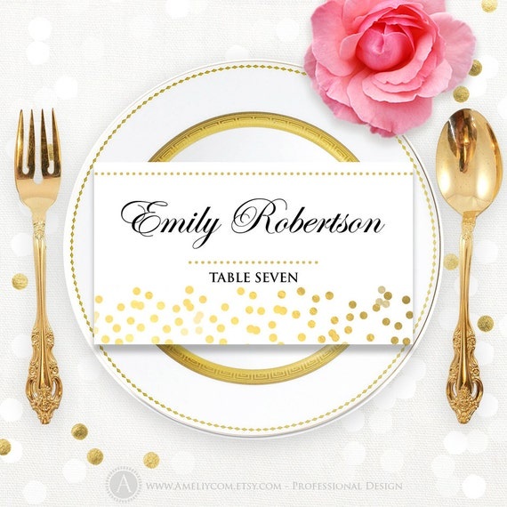 Printable Place Card Template Folded Tent Cards Glam Gold - Folded place cards template