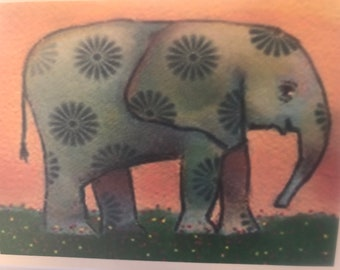 Elephant Notecards (set of 6 folded cards with envelopes in a clear box)