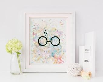 Harry Potter Print, Harry Potter Glasses, Harry Potter Wall Art, Office Decor, Harry Potter, Office Wall Art, Harry Potter Decor, Potter