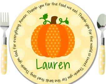 Personalized Melamine Plate   Kids Name Plate   Personalized Childs Plate   Thanksgiving  Plate   Fall