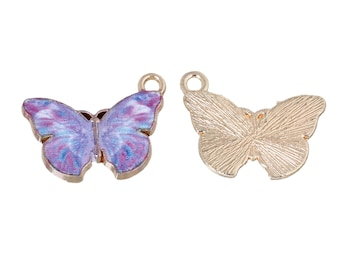 2 Butterfly Charms Purple Butterflies Enamel Charm Garden Bug Insect Butterfly Pendant Gold Edges 4263
