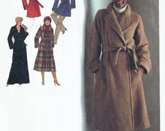 Vintage 1970s Misses Lined Wrap Coat in Three Lengths Raglan Sleeves Sewing Pattern Simplicity 9183 70s Pattern Bust 38 or Bust 50 UNCUT
