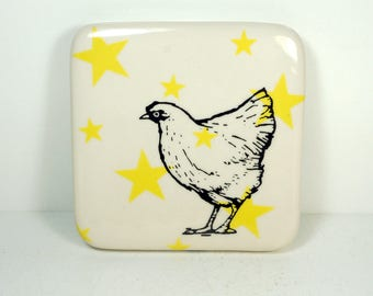 tile with yellow stars and a Chicken / Hen print. ready to ship