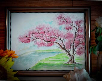 Tree Watercolor Blooming Tree Painting