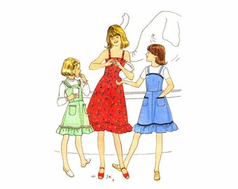 1970s Girls Sundress or Jumper Simplicity 8544 Vintage Sewing Pattern Size 7 Breast 26 UNCUT