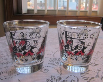 2 Vintage Libbey Glass Pickwick Rocks Glasses Red Black Bar Scene 1950's