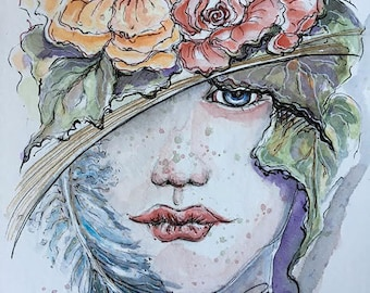 Watercolor Portrait, In The Shade,  Limited Edition Signed Print, Size 8x10 , ink wash, Illustration, Fine Art Print, Girl with floral hat,