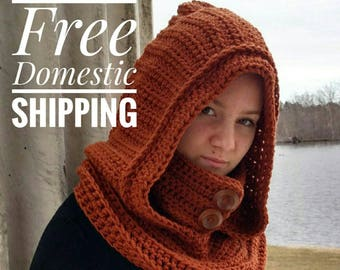 Hooded Cowl, Black Hooded Scarf, Oversized Knit Snood, Crochet Snood, Stylish Button Cowl, Vegan Cowl, Women's Hood Scarf, Valentine's Gift