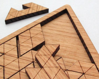 Wooden Triangles Geometric Puzzle - Red Oak Laser Cut Wood Jig Saw Puzzle - Made in the USA!