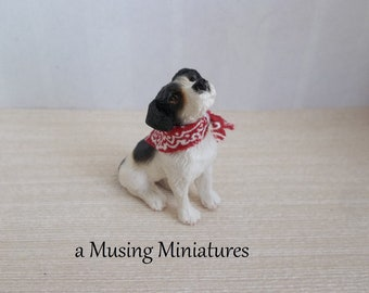 NEW Bandana Dog Listening in 1:12 Scale for Dollhouse Miniature