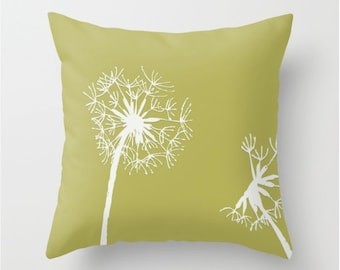 Parakeet Green Decorative Throw Pillow No.2 - home accents, scatter cushion, pillow cover, cushion cover, dandelion decor,