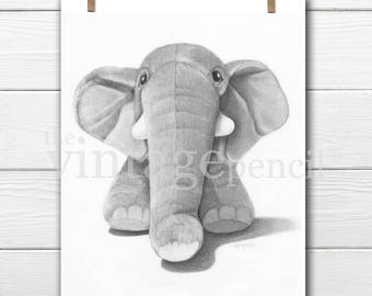Elephant Print, Elephant Nursery Art, Nursery Decor, Nursery Animal Print, Baby Elephant, Black and White Nursery, Elephant Decor, Elephant