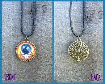Grateful Dead Space Your Face Necklace with Tree of Life Back
