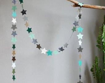"Decorative stars ""Lucas"", paper Garland, paper textured polka dots, glitter paper, patterned paper, black cotton thread"