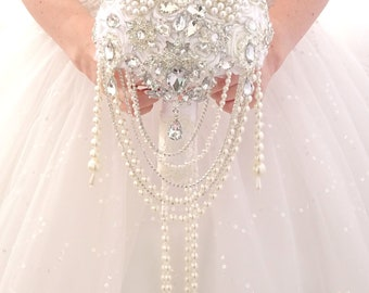 """Ready to ship 6"""" white Full jeweled bridesmaids bouquets with pearls cascading. Silver bling crystal brooch bouquet."""