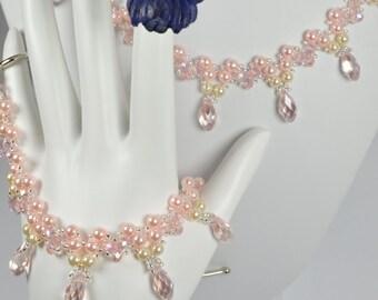 Forever Bouquet Garden Pink Crystal Bracelet and Necklace Set