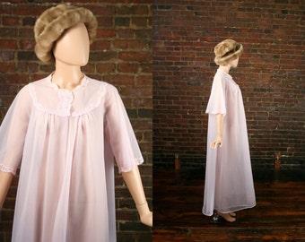 Vintage 60s Peignoir Lingerie Boudoir  Cloud Sheer Chiffon Maxi Mid-century Robe Pastel Pink Bed Jacket Dress Nightgown Sleepwear