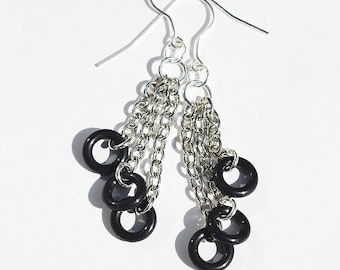 Multi Chain Earrings- Upcycled Black O Ring Hardware Jewelry, Hardware Earrings, Found Object Jewelry, Silver & Black Circle Earrings