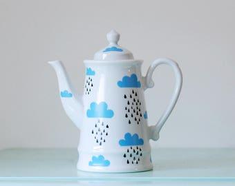 SALE! Large screenprinted clouds and rain teapot