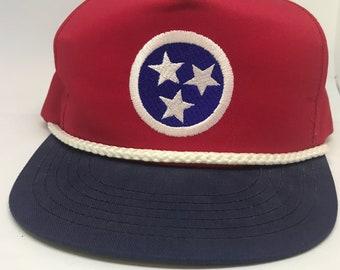 VTG 90s Tennessee Tri-Star Flag Red White & Blue Snapback hat
