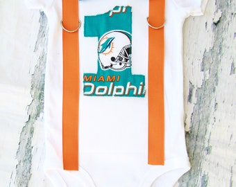 Baby boy Miami Dolphins NFL Football Themed first birthday onesie, boy first birthday one Miami Dolphins first birthday orange bow tie set