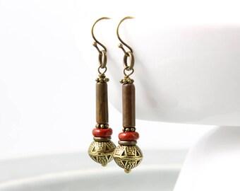 Rustic Earrings, Jasper Earrings, Red Jasper, Antique Earrings, Bohemian Earrings, Brown Stone Earrings, Tribal Earrings, Earthy Earrings,