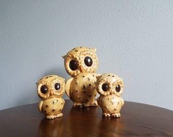 OWL Family Ceramic Figures KITSCH 60s 70s