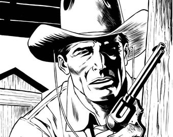 Tex Willer in foreground with pistol