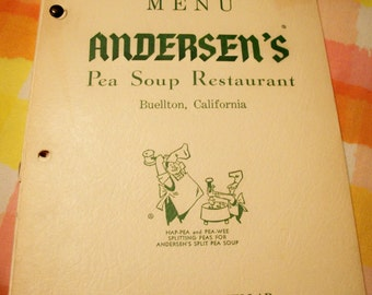 Andersen's Pea Soup Restaurant Buellton California souvenir menu