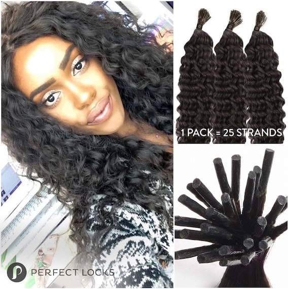 Curly Fusion I Tip Keratin Hair Extensions 100 Remy Human