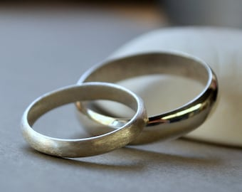 Mixed Finish Wedding Band Set - 3mm & 5mm. Modern Contemporary Simple Sleek Elegant Design. Sterling Silver.