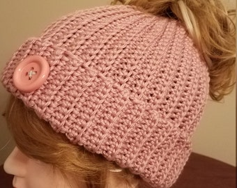 Rose Blush Color Messy Bun Hat. Super soft, for teens or adults - Ready to be Shipped