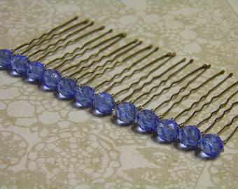 12 Sapphire Blue 8mm Crystal Hair Pins