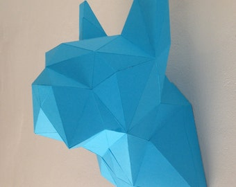 Dogo bust - DIY folding kit for a beautiful geometric low poly diamond style Bulldog Bust can be used as lampshade papercraft