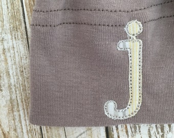Organic Cinder Baby Knot Hat - with striped monogram letter