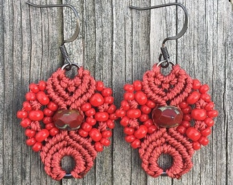 SALE Micro-Macrame Earrings - Red