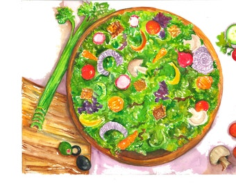 Salad Watercolor,  Leafy green lettuce,  original watercolor painting of tossed salad 10 x 14 Culinary watercolor, culinary painting