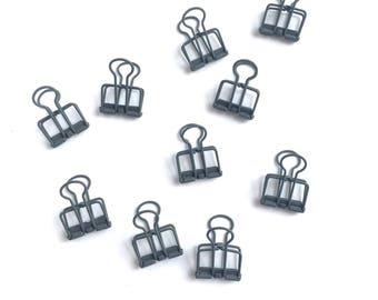 Set of 5 Small Grey Binder Clips