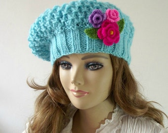 KNITTING PATTERN HAT Susy Hat with Crochet Flowers pdf pattern Instant Download pdf pattern Slouchy Beret Hat