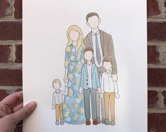Custom Family Watercolor Portrait (Full Body)