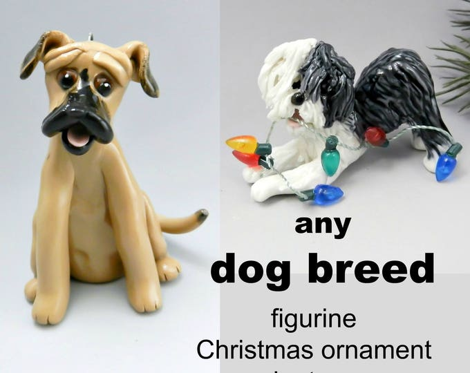 Featured listing image: Any Dog Breed PORCELAIN Christmas Ornament Figurine Made to Order