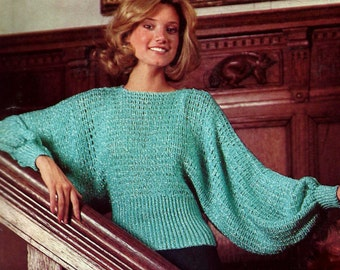 Crochet Batwing Blouse Vintage Crochet Pattern Instant Download