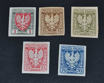 Poland 1919 5 Mint coat of Arms stamps