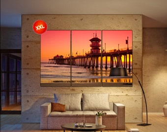 Huntington Beach Pier wall decor art  Huntington Beach Pier black white  Huntington Beach Pier canvas wall art  canvas wall art