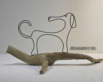 Wire sculpture. Dachshund driftwood sculpture. Pet art. Whimsical wire wiener dog sculpture. Wire art, Wire work. Dachshund art. Sausage dog